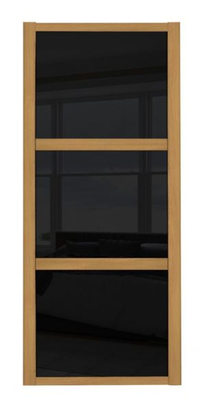 Shaker Sliding Wardrobe Door- OAK FRAME - 3  BLACK GLASS PANELS
